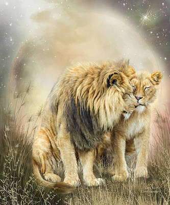Lion Kiss Poster by Carol Cavalaris