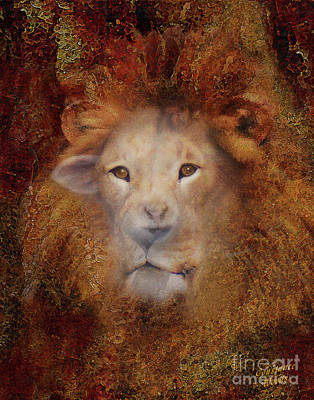 Lion Lamb Face Poster by Constance Woods