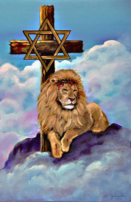 Lion Of Judah At The Cross Poster by Bob and Nadine Johnston