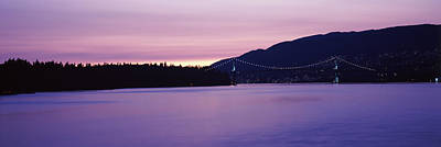 Lions Gate Bridge At Dusk, Vancouver Poster by Panoramic Images