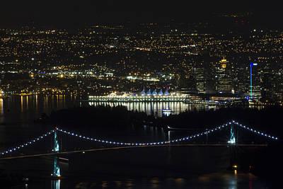 Lions Gate Bridge At Night Poster by Jeremy Oberg