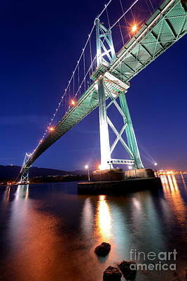Lions Gate Bridge At Night Poster by Terry Elniski