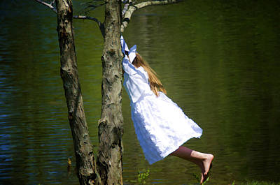 Litte Girl Swinging In White Dress Poster by Donna Doherty
