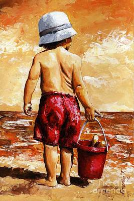 Little Boy On The Beach II Poster by Emerico Imre Toth