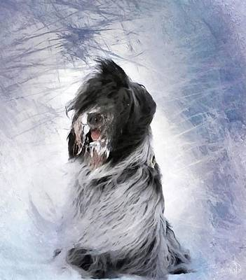 Little Doggie In A Snowstorm Poster by Gun Legler