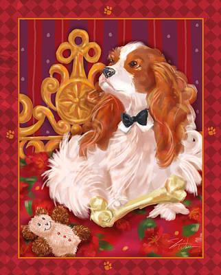 Little Dogs - Cavalier King Charles Spaniel Poster by Shari Warren