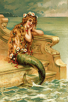 Mermaid On The Steps - At The Beach America Poster by Private Collection