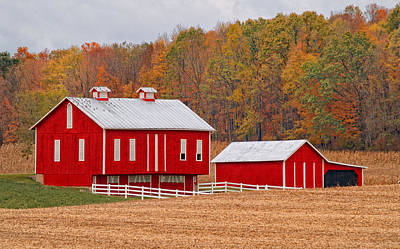 Pennsylvania Dutch Poster featuring the photograph Little Red  Pennsylvania Dutch Barn by Brian Mollenkopf