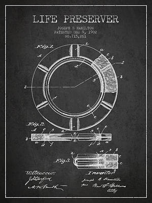 Live Preserver Patent From 1902 - Charcoal Poster by Aged Pixel