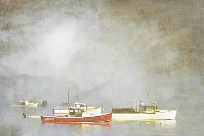 Lobster Boats At Anchor Bar Harbor Maine Poster by Carol Leigh