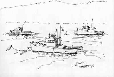 Lobster Boats Monhegan Island 1993 Poster by Richard Wambach