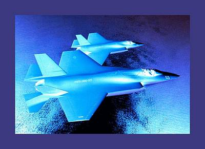 Lockheed Martin F 35 Joint Strike Fighters Night Mission Medium Border Poster by L Brown