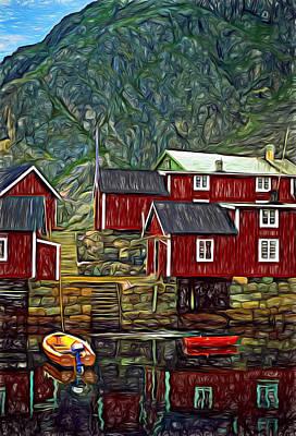 Lofoten Fishing Huts - Paint Poster by Steve Harrington