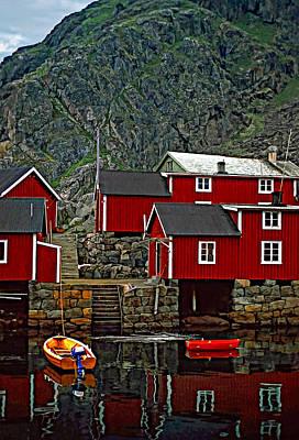 Lofoten Fishing Huts Poster by Steve Harrington
