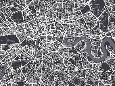 London Map Art Poster by Michael Tompsett