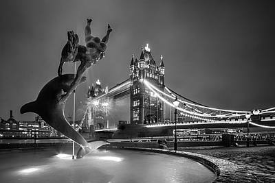 London Tower Bridge And Dolphin In Mono Poster by Ian Hufton