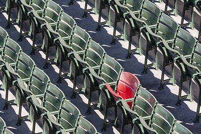 Lone Red Number 21 Fenway Park Poster by Susan Candelario