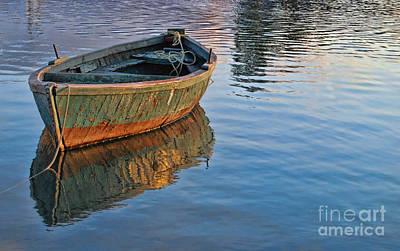 Lonely River Boat  Poster by Alexandra Jordankova