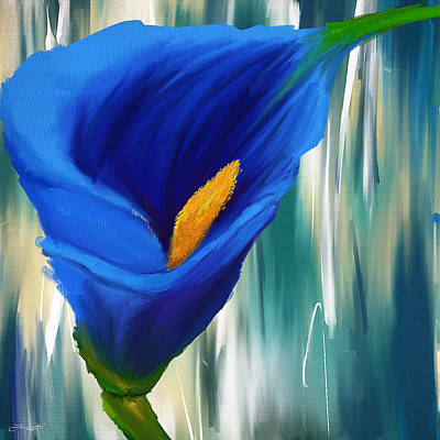 Lonesome And Blue- Blue Calla Lily Paintings Poster by Lourry Legarde