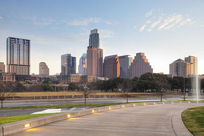 Long Center View Of Downtown Austin Texas Poster by Rob Greebon