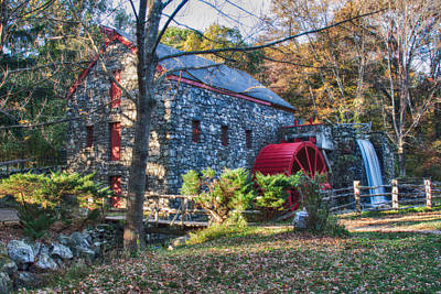 Longfellow's Wayside Inn Grist Mill In Autumn Poster by Jeff Folger