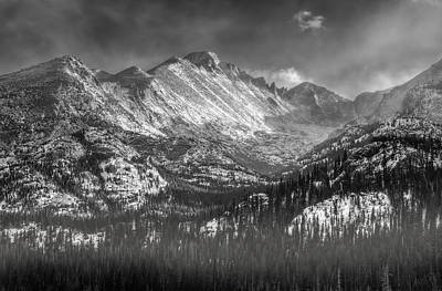 Longs Peak Rocky Mountain National Park Black And White Poster by Ken Smith