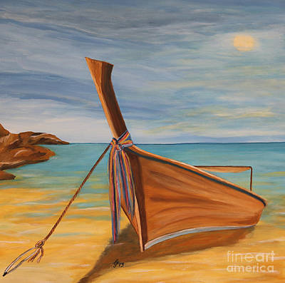 Longtail Boat On The Seashore Poster by Christiane Schulze Art And Photography