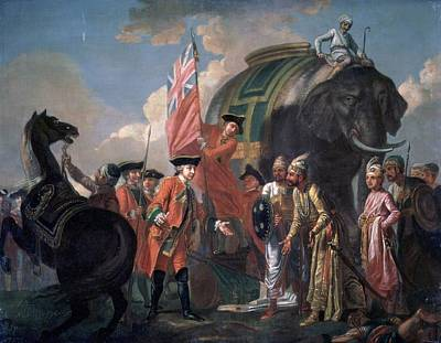 Lord Clive Meeting With Mir Jafar After The Battle Of Plassey Poster by Francis Hayman