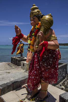 Lord Hanuman With Kali Ma In The Background At The Sea Side Temple In Mon Choisy - Mauritius Poster by Nerisha Ray Singh