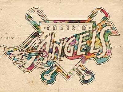 Los Angeles Angels Of Anaheim Vintage Logo Poster by Florian Rodarte