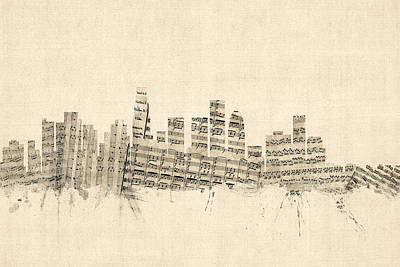 Los Angeles California Skyline Sheet Music Cityscape Poster by Michael Tompsett