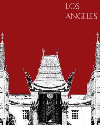Los Angeles Skyline Graumans Chinese Theater - Dark Red Poster by DB Artist