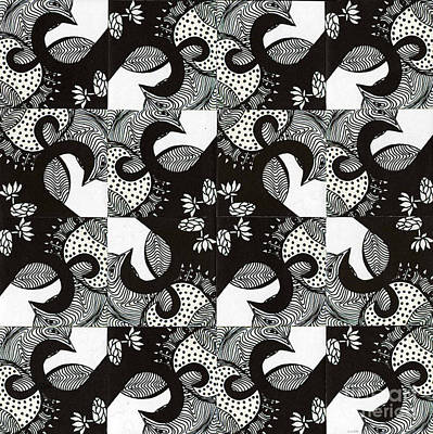 Lotus And Birds Poster by Mukta Gupta