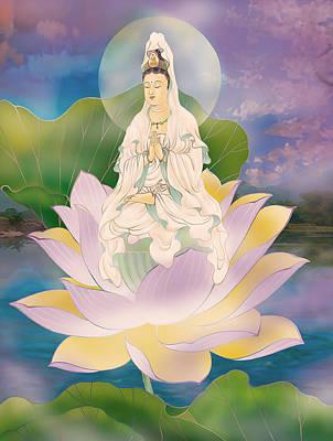 Lotus-sitting Avalokitesvara  Poster by Lanjee Chee