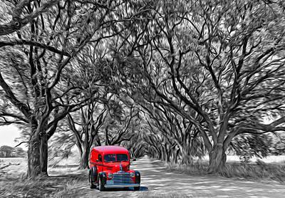 Louisiana Dream Drive Bw Poster by Steve Harrington