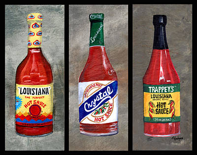 Louisiana Hot Sauce Trio Poster by Elaine Hodges