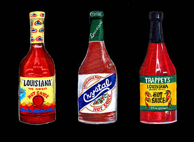 Louisiana Hot Sauce Trio On Black Poster by Elaine Hodges