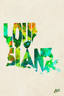 Louisiana Typographic Watercolor Map Poster by Ayse Deniz