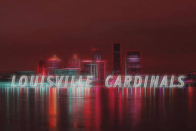 Louisville Kentucky Skyline Red Univ Of Louisville Poster by David Haskett