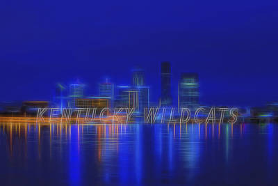 Louisville Kentucky Skyline Wildcats Blue Poster by David Haskett