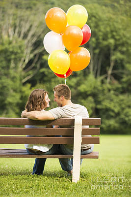 Love On A Park Bench Poster by Diane Diederich