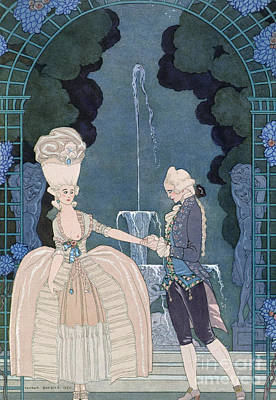 Love Under The Fountain Poster by Georges Barbier