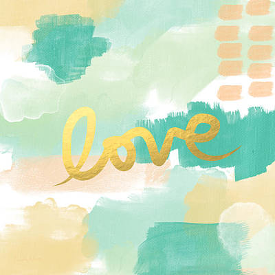 Love With Peach And Mint Poster by Linda Woods