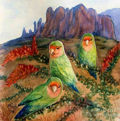 Peach-faced Lovebird Poster featuring the painting Lovebirds by Marilyn Smith