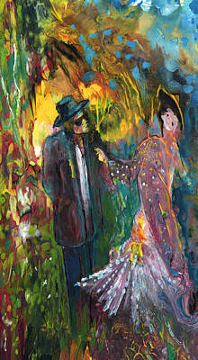 Lovers In The Wood Poster by Miki De Goodaboom