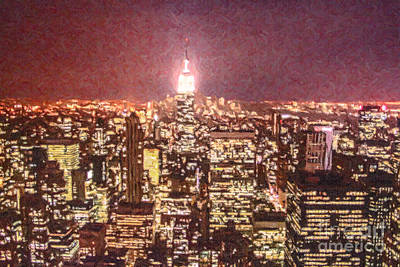 Lower Manhattan And Empire State Building Nyc Usa Poster by Liz Leyden