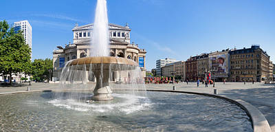 Lucae Fountain In Front Of Alte Oper Poster by Panoramic Images