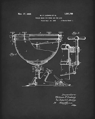 Ludwig Drums 1925 Patent Art Black Poster by Prior Art Design