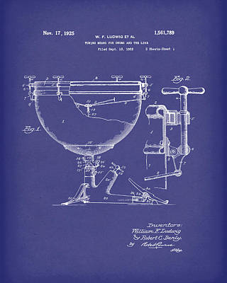 Ludwig Drums 1925 Patent Art Blue Poster by Prior Art Design