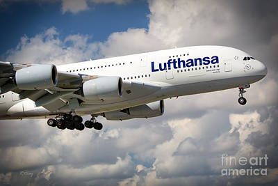 Lufthansa A380-800 Hamburg  Poster by Rene Triay Photography